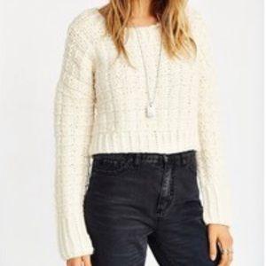 JOA Chunky Cropped Knit Sweater